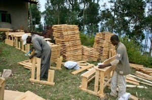Desks Being Built via Twelve in Twelve and Bridge2Rwanda at our Mentoring Mwiko community center.