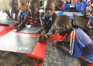 Students with Personal Chalkboards_Old Fangak School_May 2017