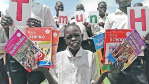 Students_with New Flash Cards and Textbooks_June 2016_Ruweng State Primary School South Sudan 300dpi